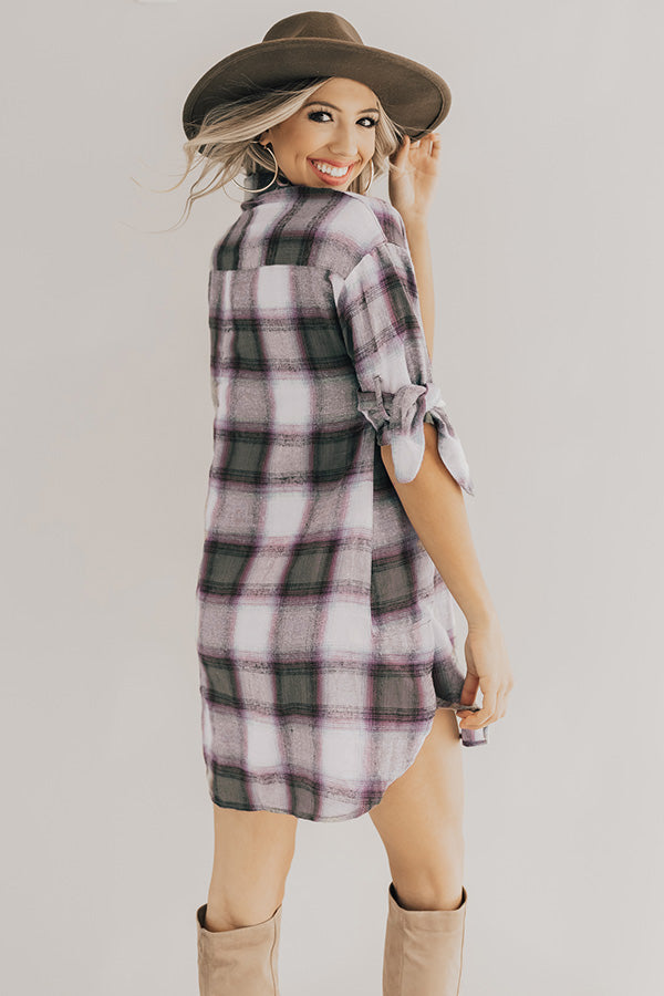 Chic And Stylish Plaid Shift Dress in Olive