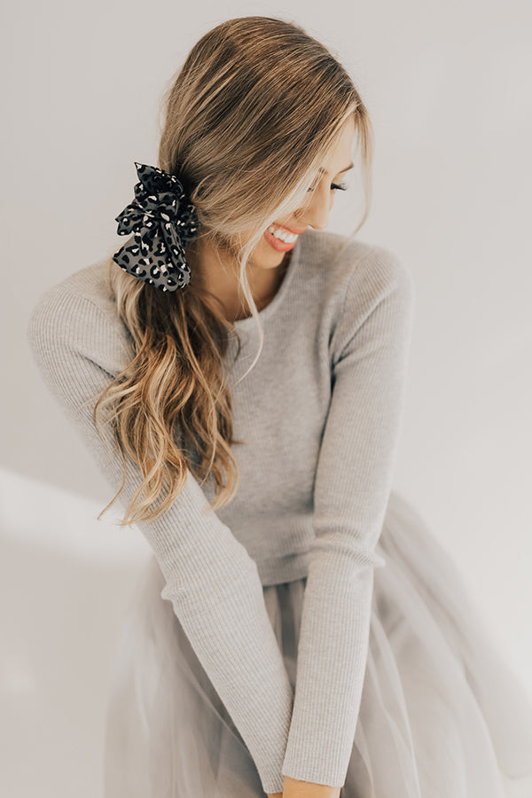 Tied And True Leopard Scrunchie In Dark Grey
