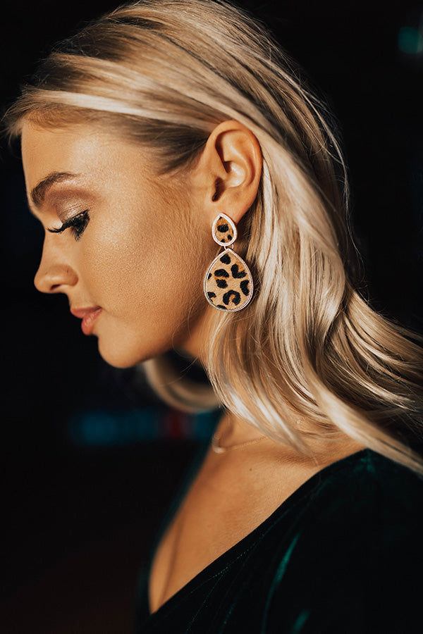 Central Park Shine Earrings In Leopard