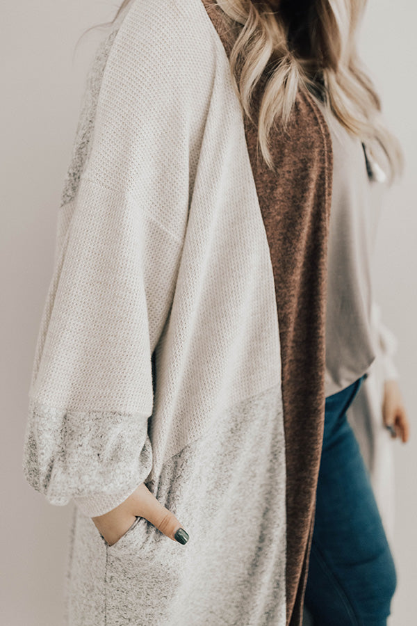 First Class To Vail Colorblock Cardigan in Rustic Rose