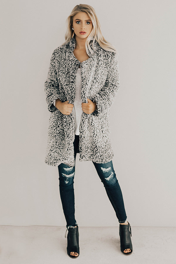 Cozy Gathering Sherpa Cardigan In Black