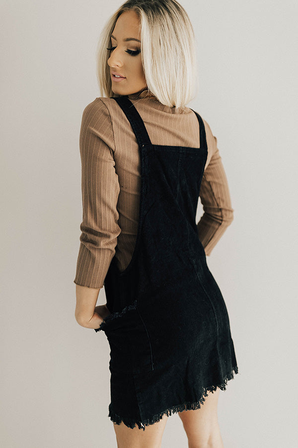 Endlessly Luxe Corduroy Dress In Black