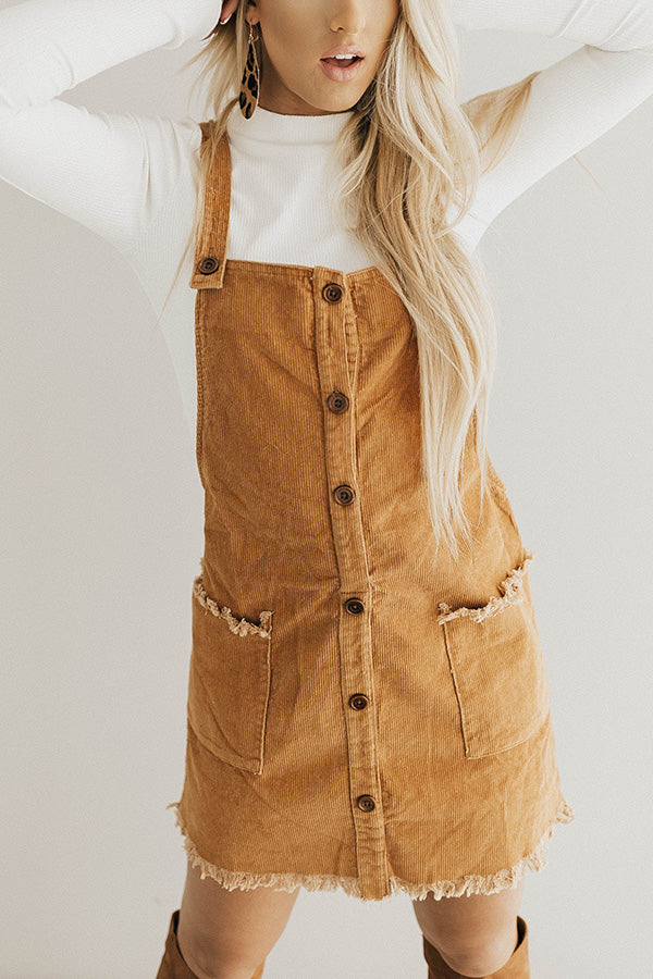 Endlessly Luxe Corduroy Dress In Camel