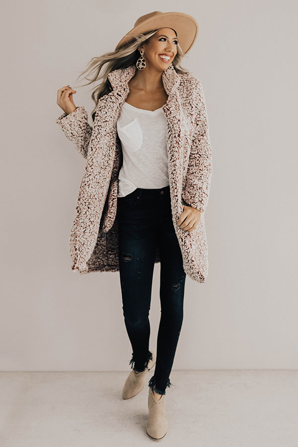 Cozy Gathering Sherpa Cardigan In Wine