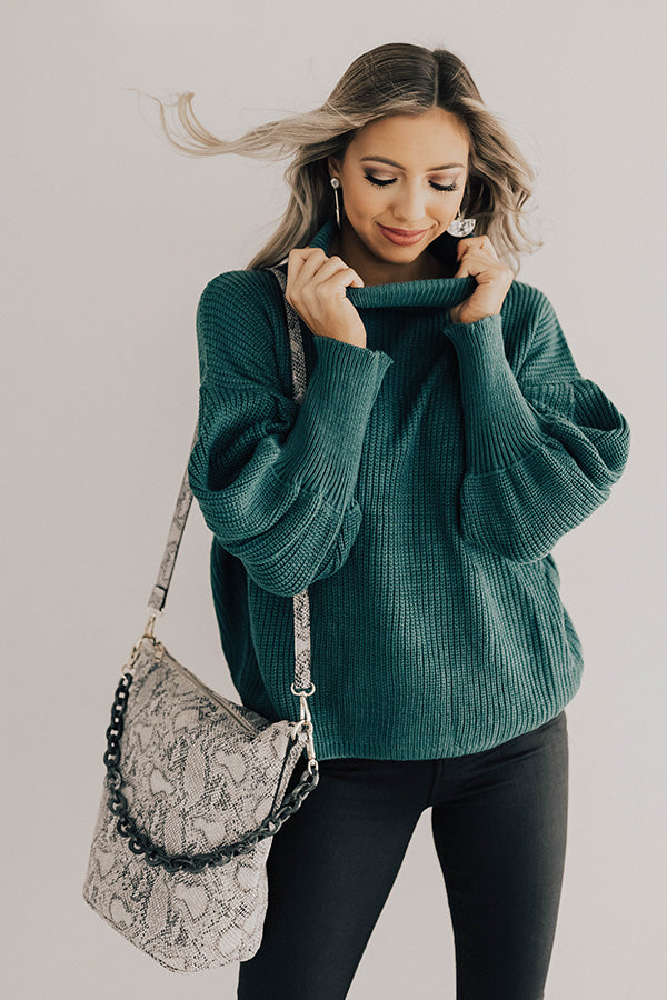 Colorado Campfire Knit Sweater In Teal