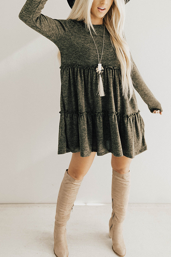 Toast Of The Town Shift Dress In Olive