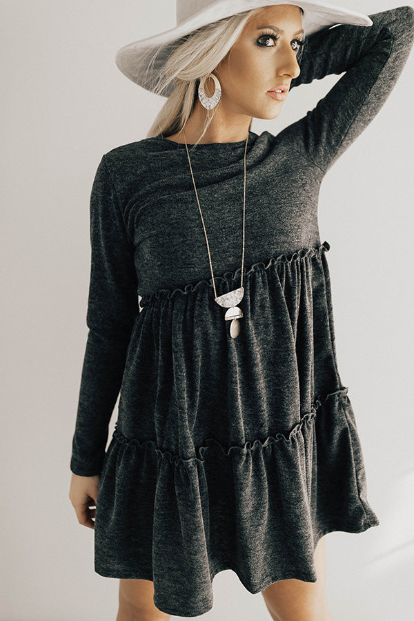 Toast Of The Town Shift Dress In Charcoal