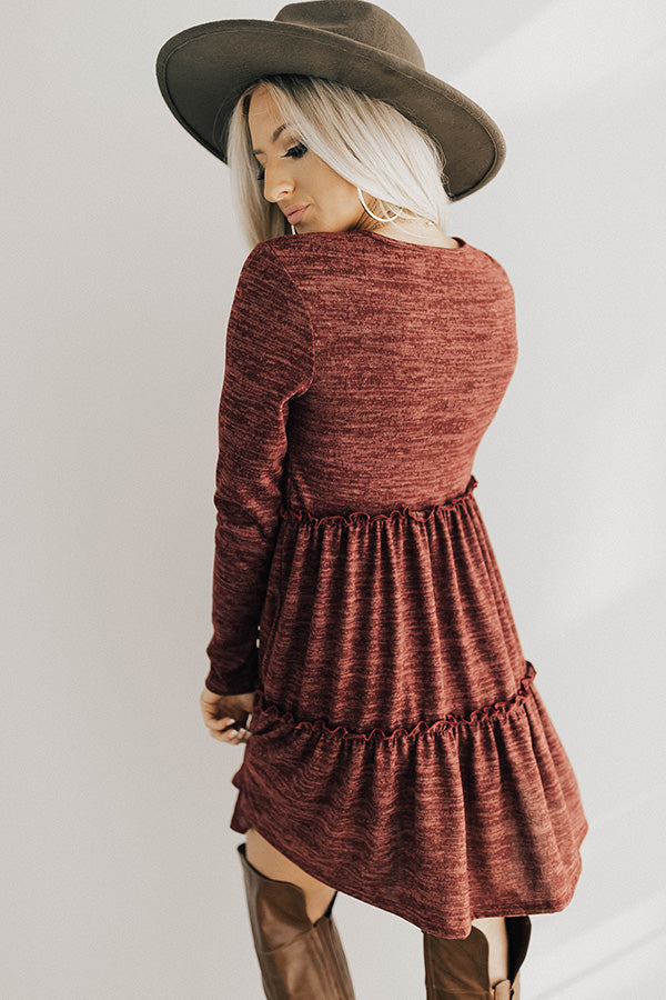 Toast Of The Town Shift Dress In Maroon