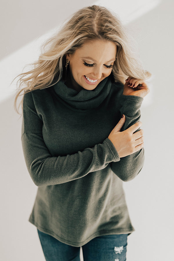 Baby, It's Cold Outside Shift Top in Olive