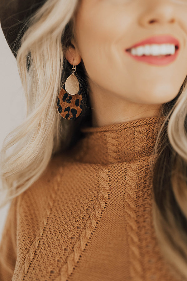 Soho Haute Leopard Earrings In Brown