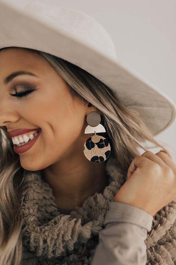 Forever Favorite Leopard Earrings In Taupe
