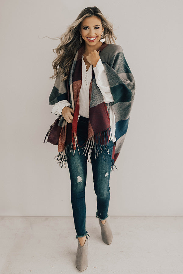 Favorite Time Of Year Plaid Poncho