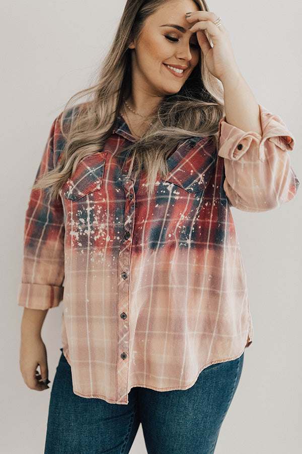 Pinot By The Fire Plaid Button Up