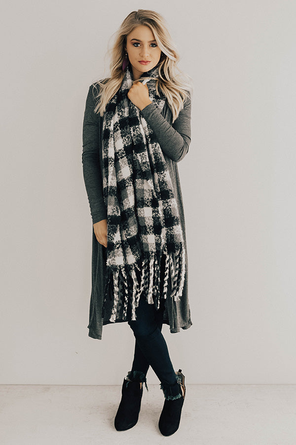 Wine In The City Duster Cardigan in Charcoal