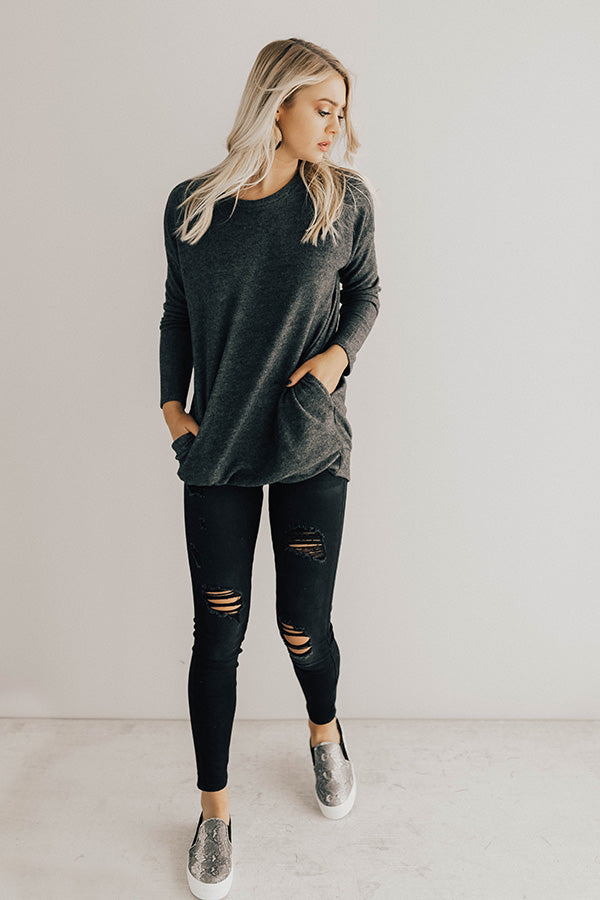 Salt Lake City Snuggles Tunic Sweater in Charcoal