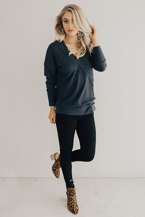 Favorite Time Of Year Tunic Sweater in Dark Teal