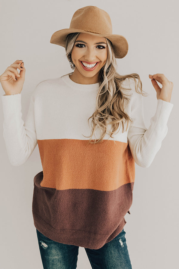 Status Update Colorblock Sweater in Ivory