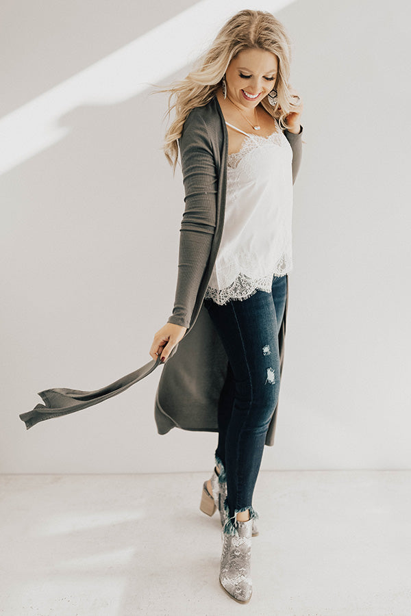 Wine In The City Duster Cardigan in Olive
