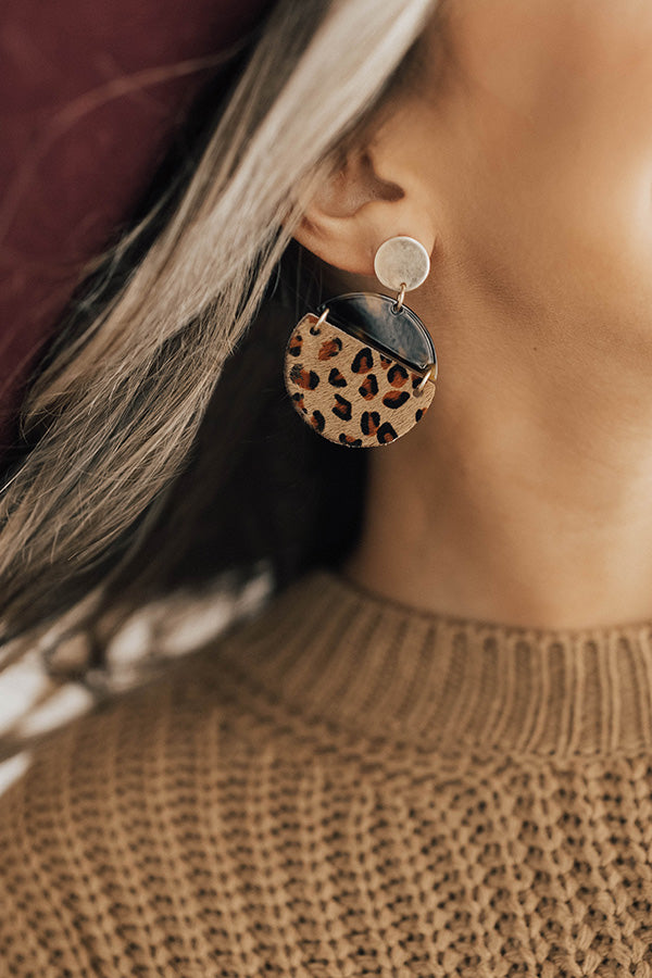 Vip Status Leopard Earrings In Brown