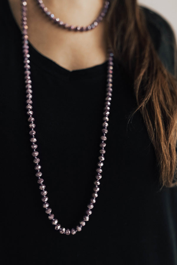 High Shine Crystal Necklace In Dark Lavender