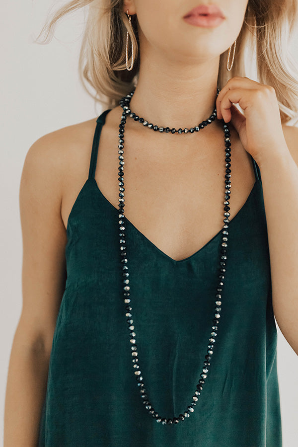 High Shine Crystal Necklace In Navy