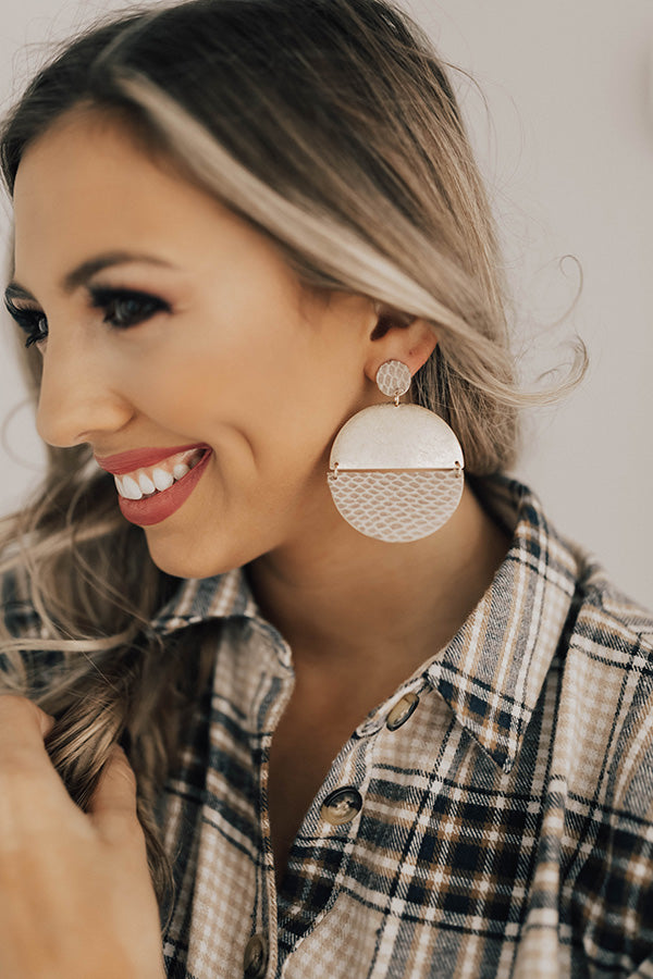 Glam Goals Earrings In Warm Taupe