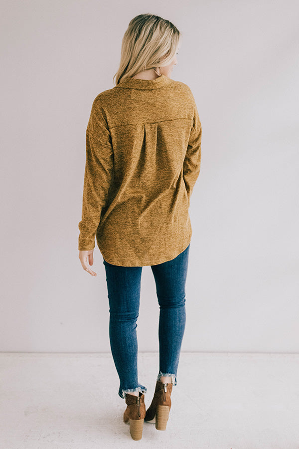 Apple Spiced Perfection Shift Top in Mustard