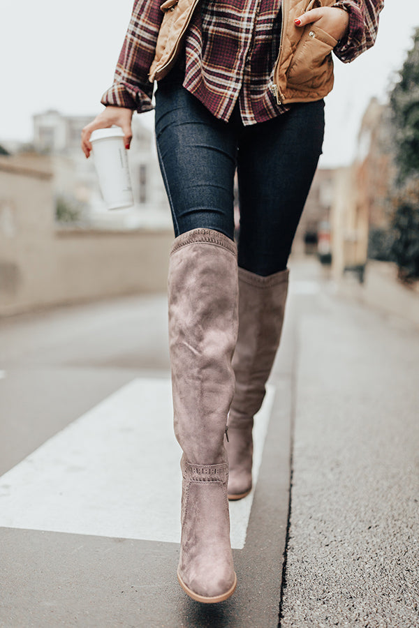 6f72c0e3640 The Haven Faux Suede Knee High Boot in Dark Grey