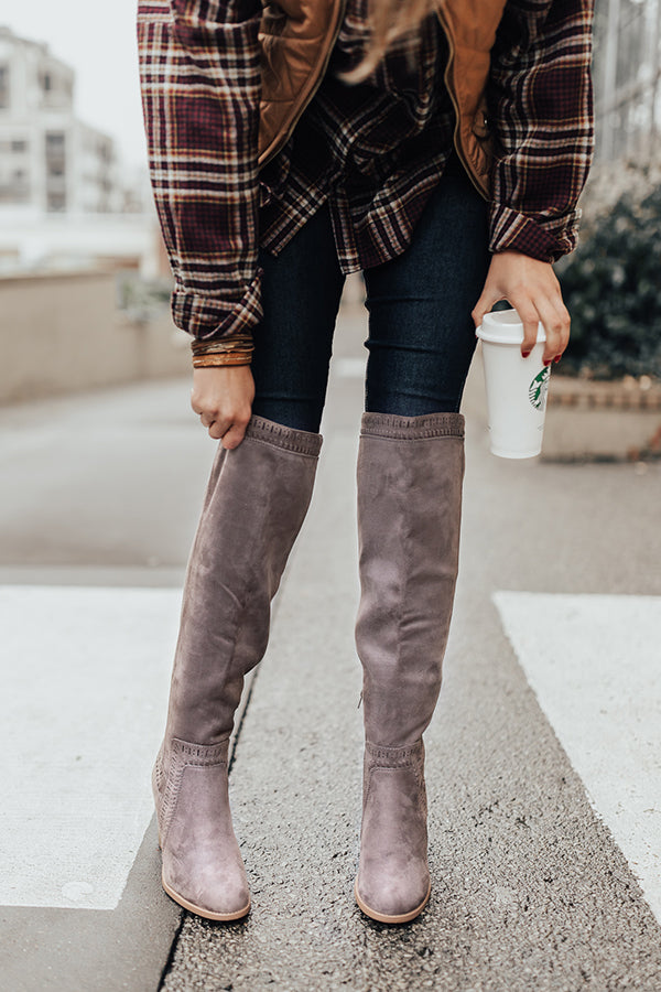 The Haven Faux Suede Knee High Boot in Dark Grey