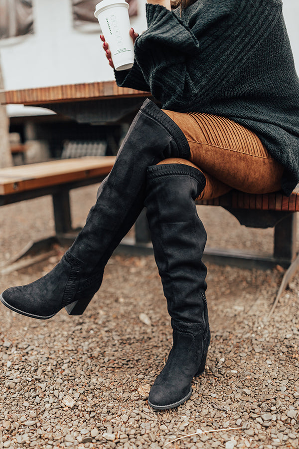 The Haven Faux Suede Knee High Boot in Black