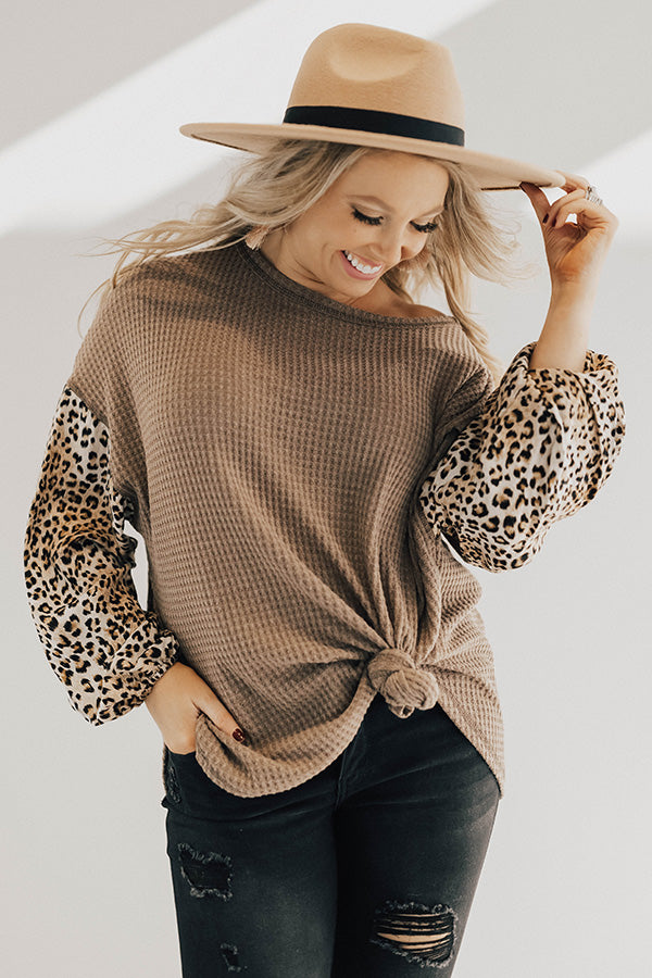 Hello Lovely Waffle Knit Shift Top in Cheetah