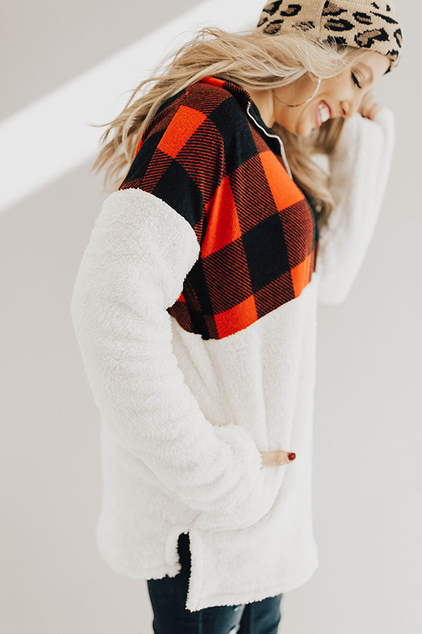 Printed And Posh Fuzzy Pullover in Buffalo Check