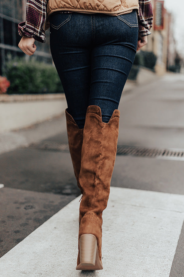 The Haven Faux Suede Knee High Boot in Chocolate
