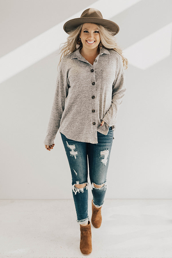 Apple Spiced Perfection Shift Top in Grey