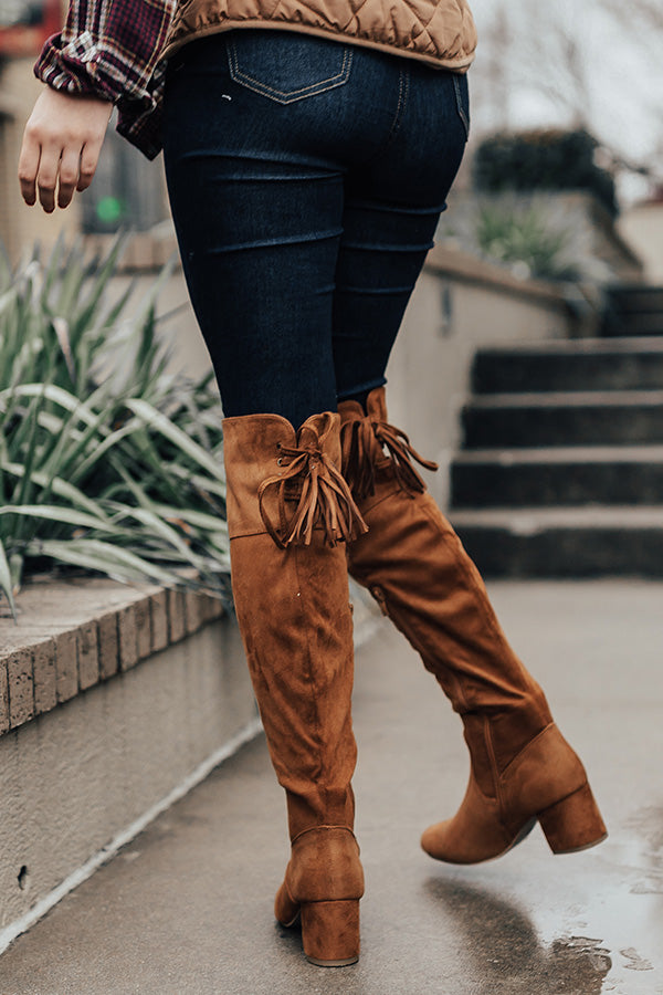 The London Faux Suede Over The Knee Boot in Copper