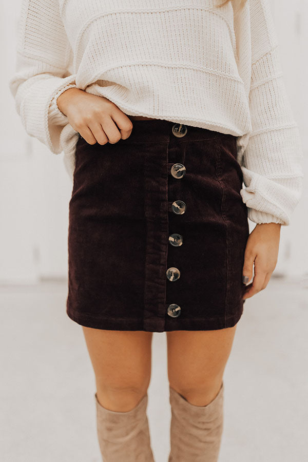 Squad Goals Button Up Skirt in Windsor Wine