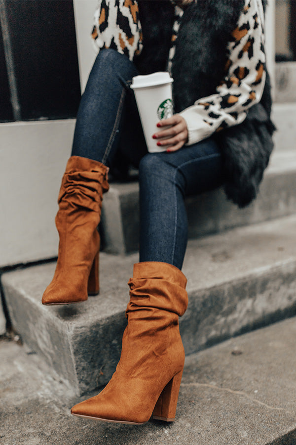 The Liz Faux Suede Boot in Copper