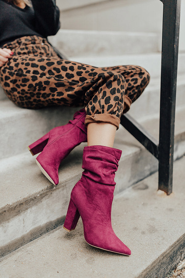 The Liz Faux Suede Boot in Wine