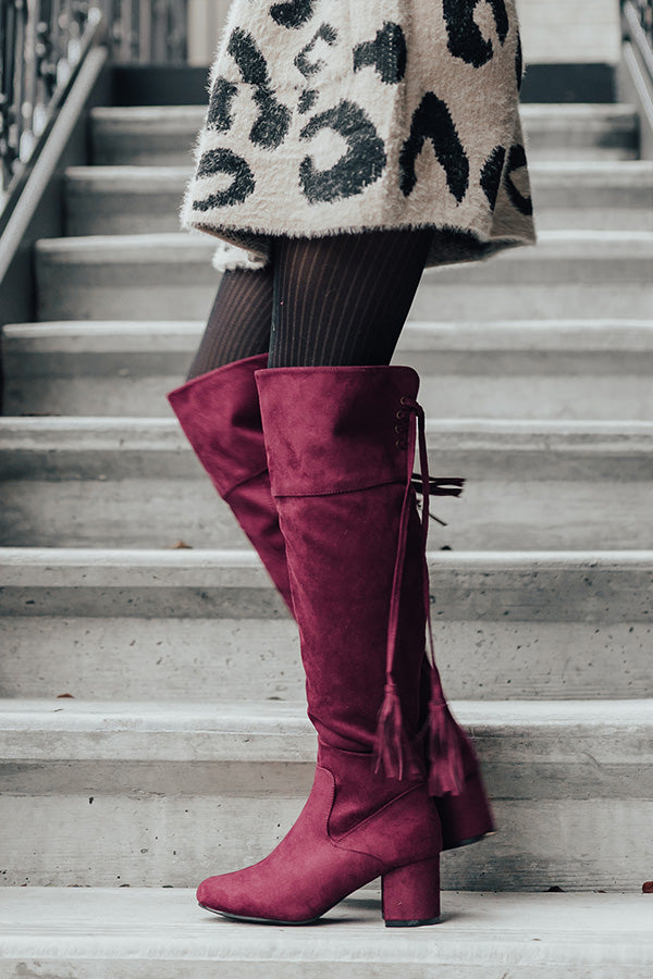 The London Faux Suede Over The Knee Boot in Merlot