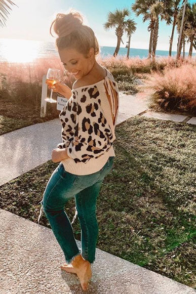 Plaza Party Open Back Leopard Sweater
