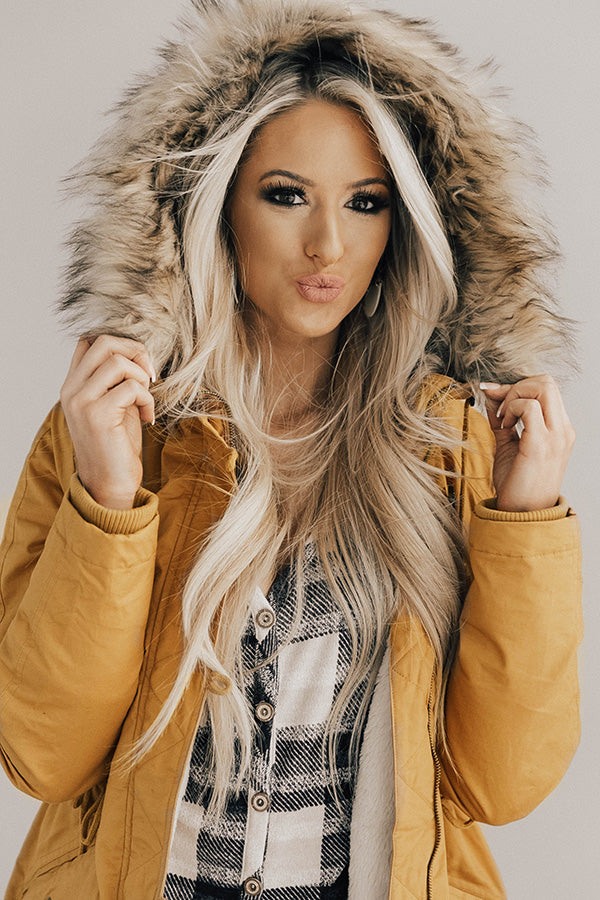 Snow Day Snuggles Parka Jacket In Mustard