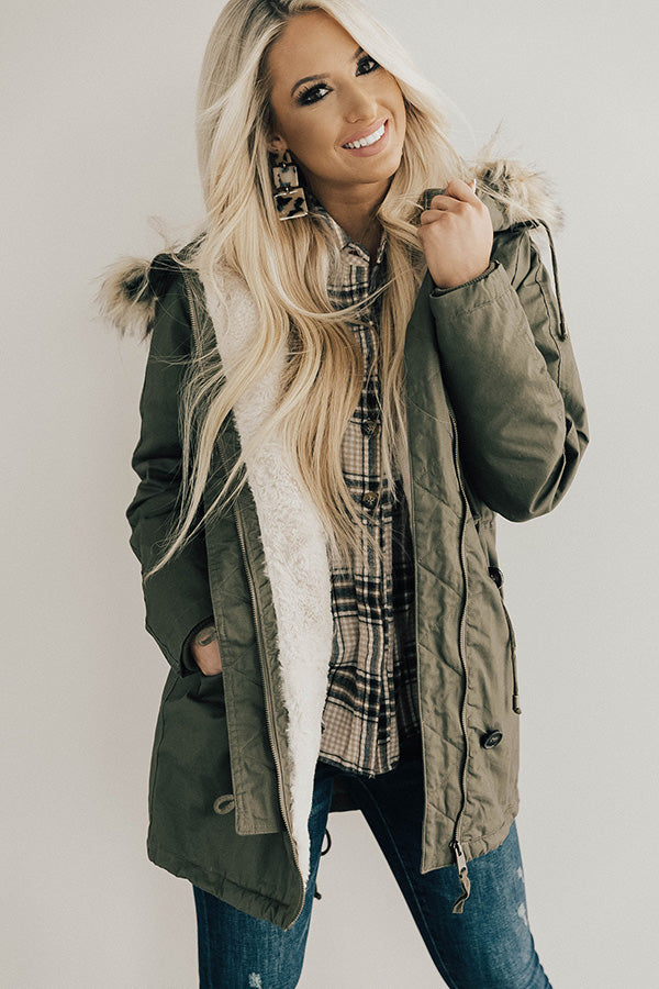 Snow Day Snuggles Parka Jacket In Olive