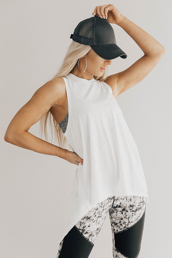 Crunches, Then Cocktails Peek-A-Boo Tank in White