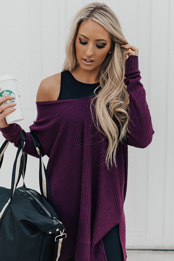 Long Weekend Waffle Knit Tunic In Purple