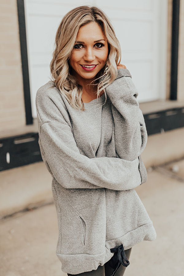 Barre And Brunch Tunic Sweater In Grey