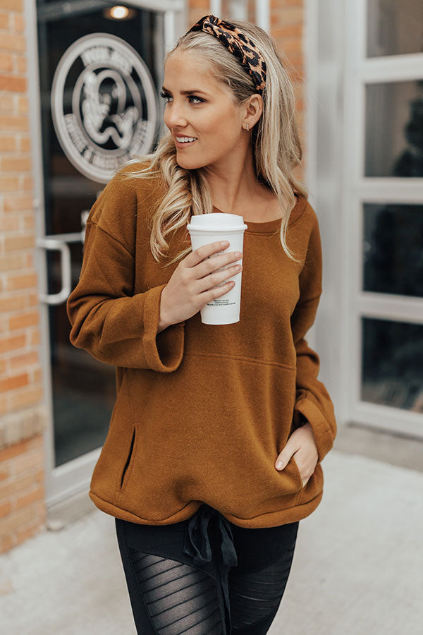 Barre And Brunch Tunic Sweater in Cinnamon