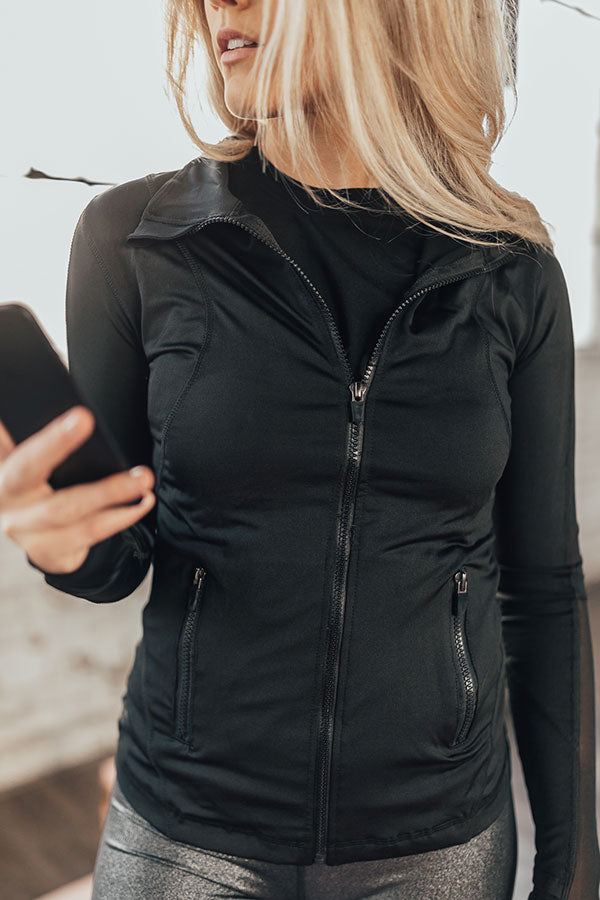 Ready, Set, Run Mesh Back Jacket in Black