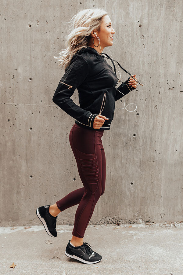 Crushed It High Waist Moto Legging in Maroon