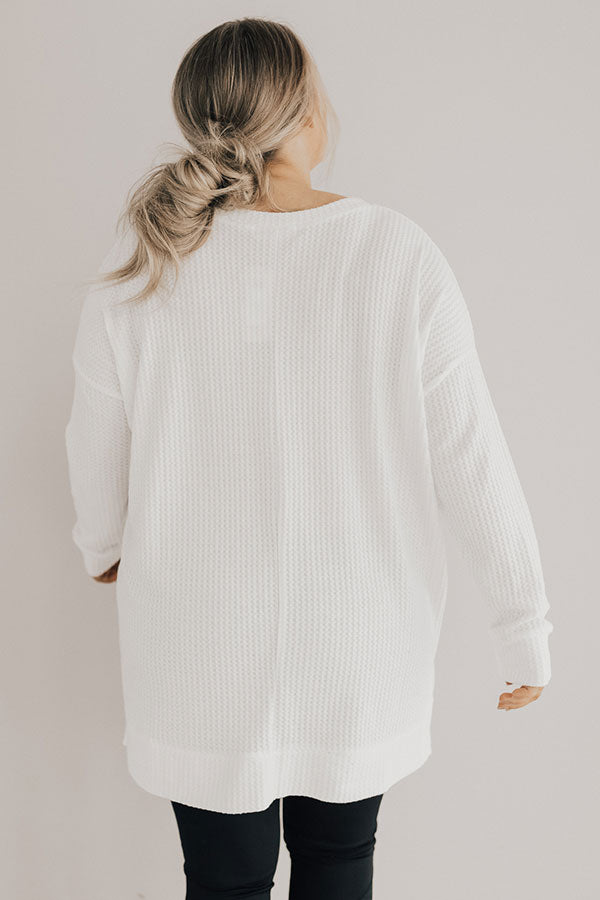 Snow Angels In The Park Waffle Knit Tunic in White
