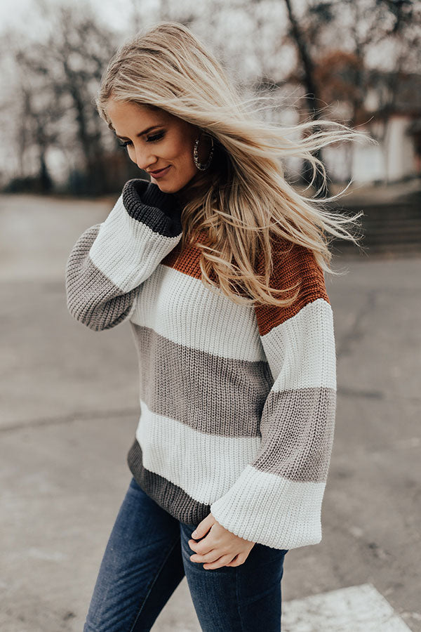 Sipping Chardonnay Color Block Sweater In Copper